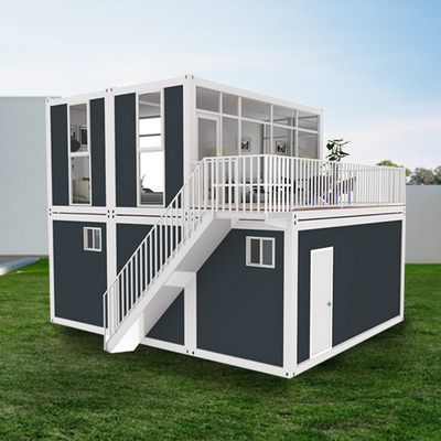 Modern Luxury Light Steel Two-Story Container Prefab House With Open-Air Balcony Cabins Suitable For Home Living And Office
